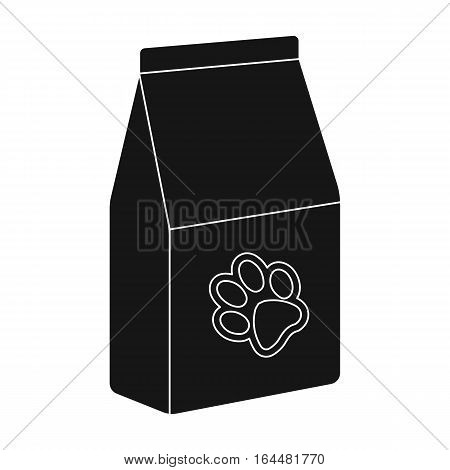 Pet food icon in black design isolated on white background. Veterinary clinic symbol stock vector illustration.