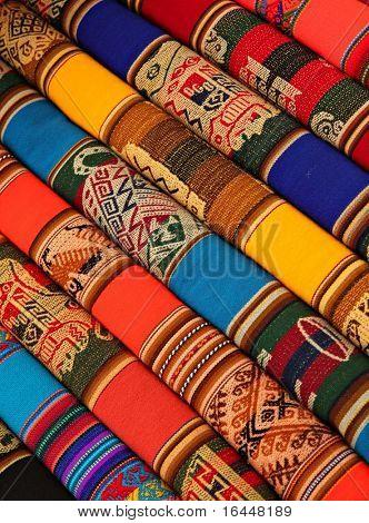Colorful Fabric at market in Peru