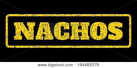 Yellow rubber seal stamp with Nachos text. Vector message inside rounded rectangular shape. Grunge design and scratched texture for watermark labels. Horisontal emblem on a blue background.