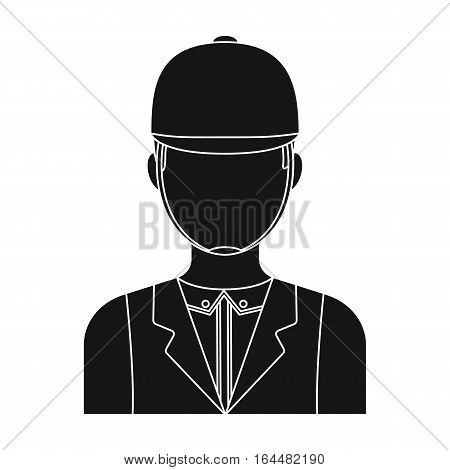 Jockey icon in black design isolated on white background. Hippodrome and horse symbol stock vector illustration.