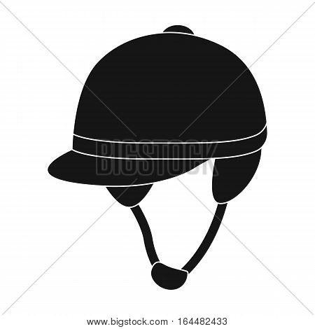 Jockey's helmet icon in black design isolated on white background. Hippodrome and horse symbol stock vector illustration.