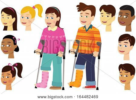 Two illustrations of young kids with a broken leg and crutches. Heads can be replaced to create new combinations.