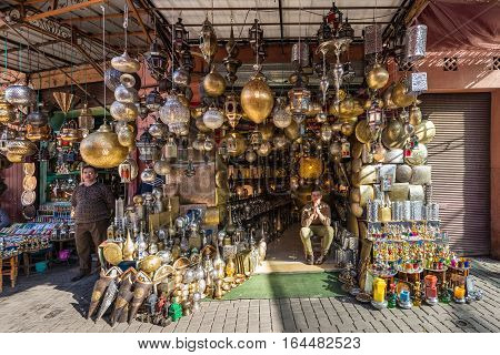 Marrakesh Morocco - December 8 2016: Moroccan metal lamps in the shop in medina of Marrakesh Morocco. The traditional Berber market is one of the most important attractions of the city.