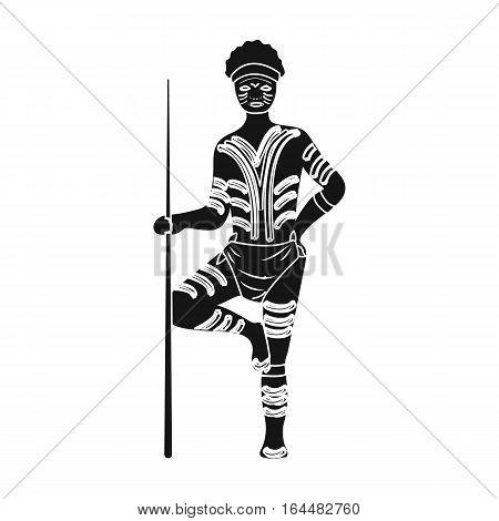 Astralian aborigine icon in black design isolated on white background. Australia symbol stock vector illustration.