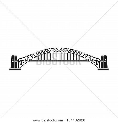 Sydney Harbour Bridge icon in black design isolated on white background. Australia symbol stock vector illustration.