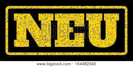 Yellow rubber seal stamp with Neu text. Vector caption inside rounded rectangular banner. Grunge design and scratched texture for watermark labels. Horisontal sticker on a blue background.