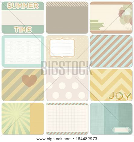 Vector set of journal cards for scrapbook and design, 3x4 size. Summer collection, part 2.