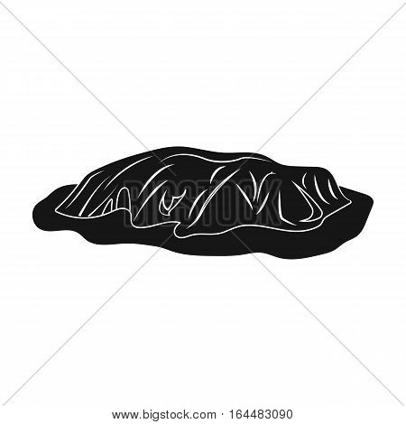 Uluru icon in black design isolated on white background. Australia symbol stock vector illustration.