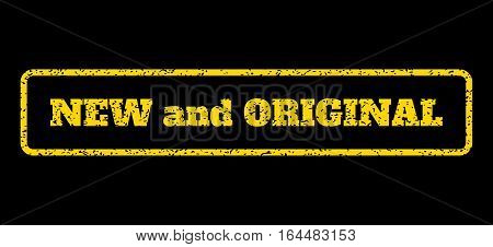 Yellow rubber seal stamp with New and Original text. Vector message inside rounded rectangular shape. Grunge design and dust texture for watermark labels. Horisontal sticker on a blue background.