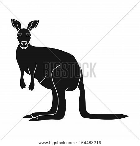Kangaroo icon in black design isolated on white background. Australia symbol stock vector illustration.
