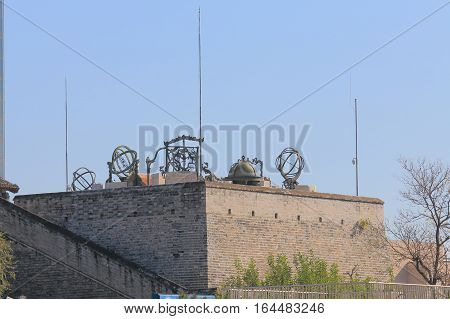 BEIJING CHINA - OCTOBER 28, 2016: Ancient Observatory museum. Ancient Observatory museum is a pretelescopic observatory built in 1442.