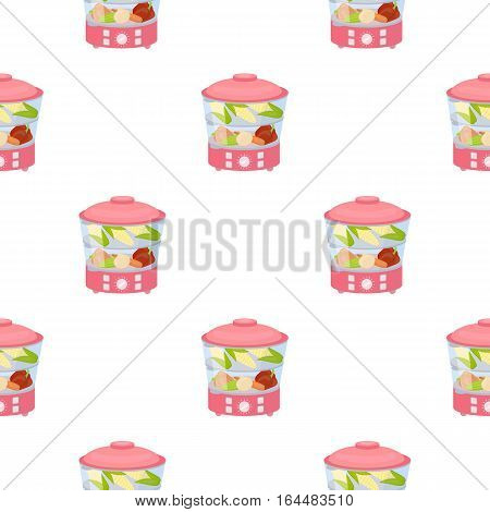 Food steamer icon in cartoon style isolated on white background. Household appliance symbol vector illustration.