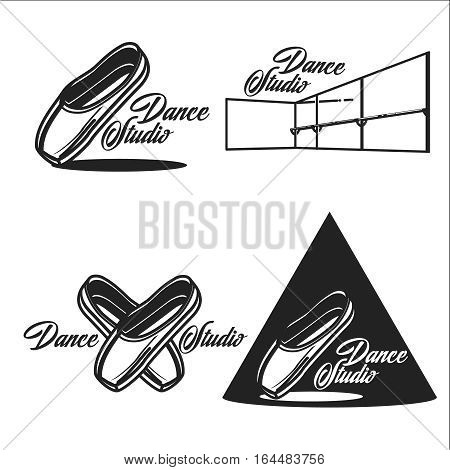 Vintage dance studio emblems. Dancing lady. Ballet, pole dance. Ball room dancing school insignia. Modern street dance.