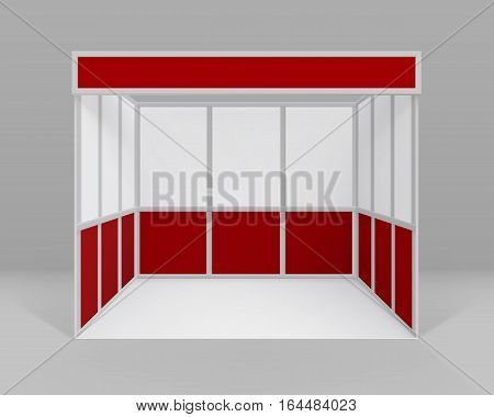 Vector White Red Blank Indoor Trade exhibition Booth Standard Stand for Presentation Isolated with Background