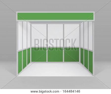 Vector White Green Blank Indoor Trade exhibition Booth Standard Stand for Presentation Isolated with Background