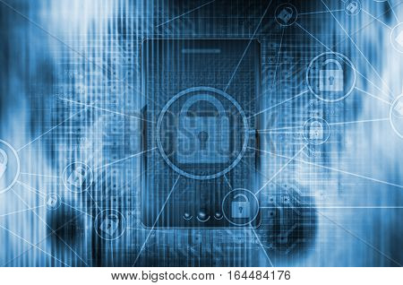 Cellular Mobile Global Network Concept Illustration with padlocks. Cellular Devices and Mobile Application Safety.