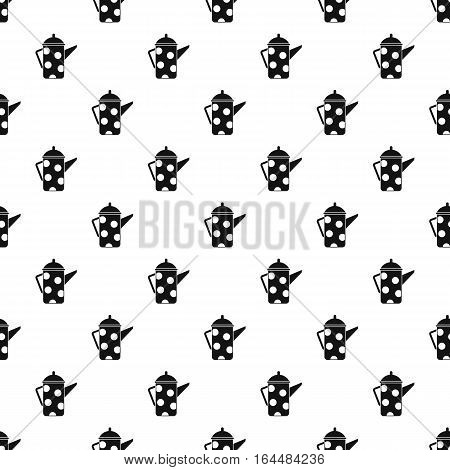 Metal kettle with white polka dots pattern. Simple illustration of metal kettle with white polka dots vector pattern for web