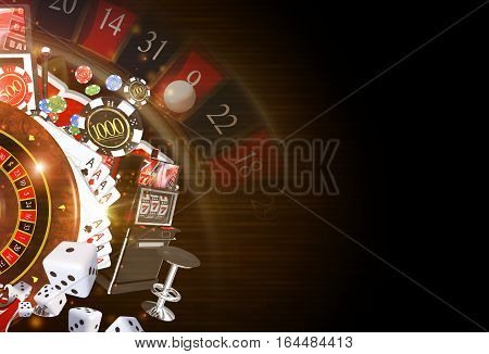 Copy Space Casino Background 3D Rendered Illustration. Dark Casino Gambling Theme.
