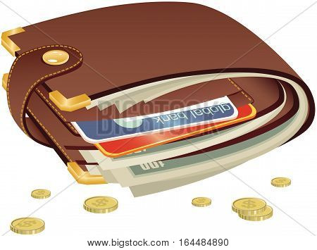 An image of a typical brown leather wallet including cash and cards.