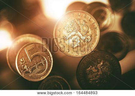 Czech Koruna Coins Macro Closeup. Czechia Currency.