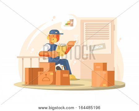 Uniformed deliveryman delivers parcels and packages at address. Vector flat illustration