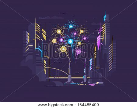 Colorful celebratory salute over city late at night. Vector illustration