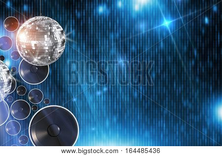Disco Dancing Background Illustration with 3D Rendered Elements. Abstract Blue Disco Backdrop with Disco Ball and Copy Space.