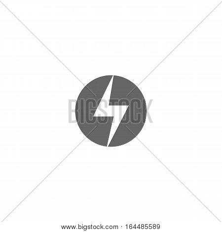 Grey lightning logo isolated on a white background.