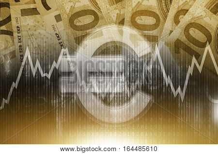 Euro Trading Conceptual. Currency Forex Trading. Euro Value.