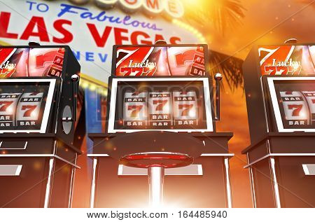 Famous Las Vegas Slot Games. One Handed Bandit Las Vegas Concept 3D Rendered Illustration. Famous Vegas Strip Sign in the Background.