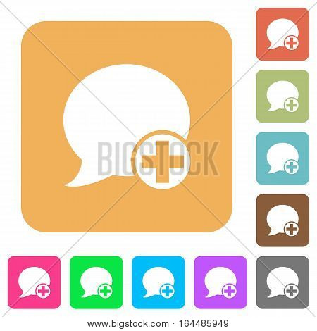 Post blog comment flat icons on rounded square vivid color backgrounds.