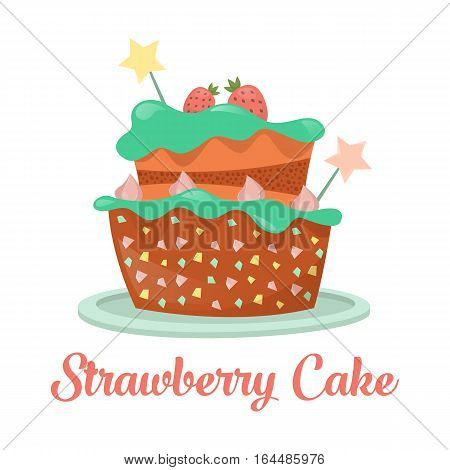 Dessert strawberry cake food, pastry and bakery. Birthday pie with cream and icing icon, biscuit with chocolate product for gourmet. Celebration and nutrition, confectionery and bakery advertising