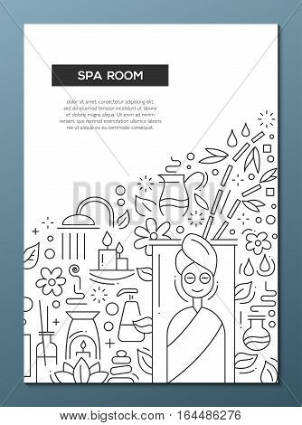Spa room - vector plain line design brochure poster, flyer presentation template, A4 size layout.