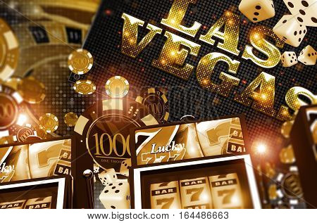 Golden Vegas Casino Concept. Casino Games 3D Rendered Illustration. Slot Machines Roulette Game Poker and Casino Chips.