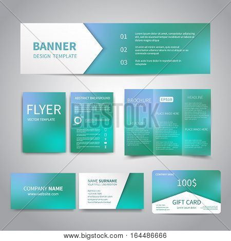 Banner, flyers, brochure, business cards, gift card design templates set with beautiful shiny blue background. Corporate Identity set, Advertising, Christmas party promotion printing