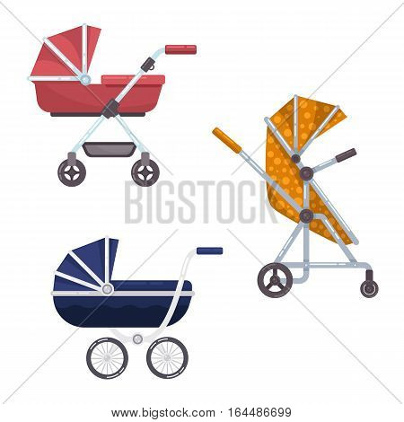 Set of baby or infant carriage or child wagon design, perambulator or pram icon, isolated buggy with wheels, newborn cradle or little kid transport. Maternity or parenthood, mother walk and infant care theme