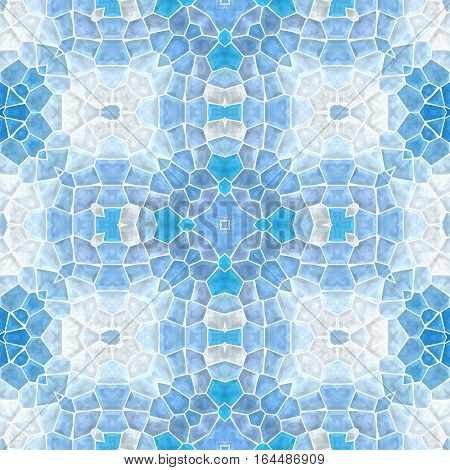 mosaic kaleidoscope seamless pattern texture background - light blue colored with white grout