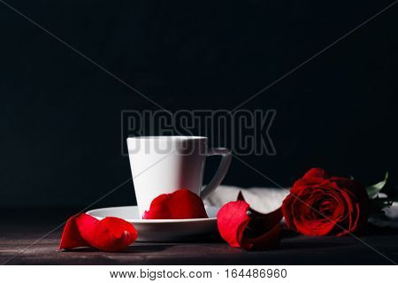 Beautiful Red Rose On Black Background With Coffee