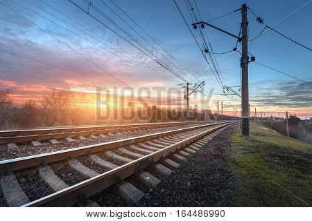 Railway Station Against Beautiful Sunny Sky. Industrial Landscape