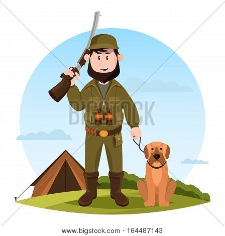 Hunter with rifle or gun with hunting dog near tent on meadow. Cartoon man or human in camouflage with ammunition for sport hunting, binoculars and shotgun. Outdoor recreation or hobby theme