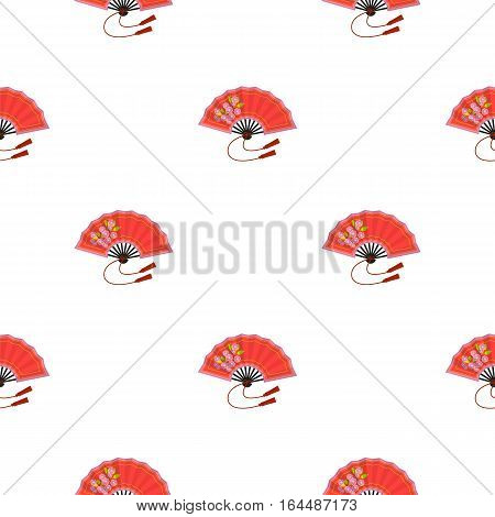 Folding fan icon in cartoon style isolated on white background. Japan pattern vector illustration.