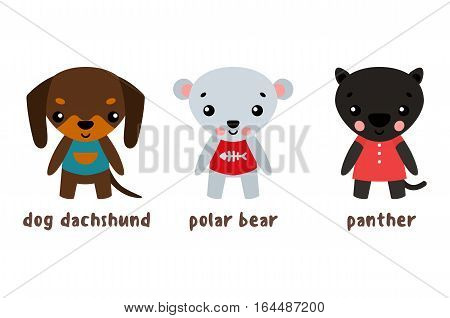 Cartoon characters. Panther and polar or white bear, dachshund dog breed. Set of mammal animals with cloth and smiling faces. Zoo, kid and child humor, cheerful and funny baby animals