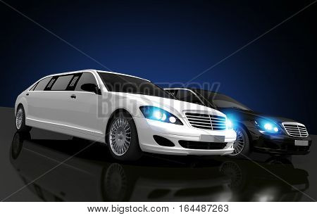 Limousines For Hire Conceptual 3D Rendered Illustration. Two Limousines Black and White on a Glassy Floor.