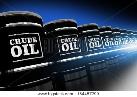 Line of Crude Oil Barrels 3D Rendered Illustration. Black and Chrome Oil Barrels.