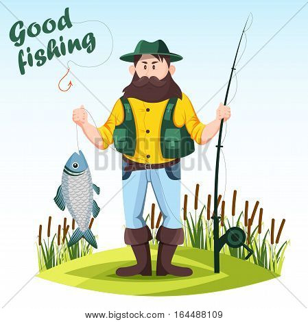 Fisher or fisherman holding fish and fishing rod or spinning with reel and hook. Cartoon man at meadow with reeds with his catch. Hobby or outdoor sport activity, male recreation, people theme