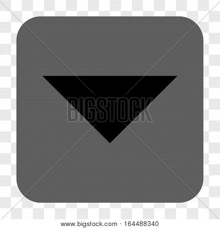 Arrowhead Down interface toolbar button. Vector icon style is a flat symbol inside a rounded square button black and gray colors chess transparent background.