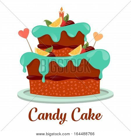Dessert party cake, sweet bakery or pastry icon. Pie with cream and chocolate candy, lemon and hearts, candle on top and icing. Bakehouse logo, cook and gourmet, nutrition and confectionery theme