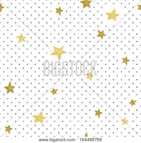 Hand drawn creative background. Simple minimalistic seamless pattern with golden stars and dots. Universal vector design.