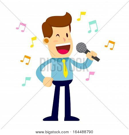 Vector stock of a happy businessman singing while holding a microphone