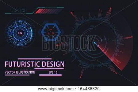 Futuristic design elements for loading bar and round or circle space information, on button. Set of graphic for technology information visualization template. Web ui or game screen elements theme
